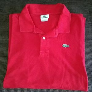 Lacoste Red Long Sleeve Polo Size 8